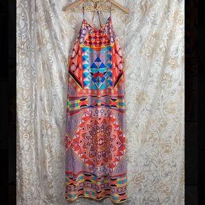 Pink Owl Maxi Boho Aztec Geometric Colorful Dress